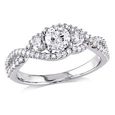 14K White Gold 1ctw Diamond Round 3-Stone Twist-Shoulder Halo Ring