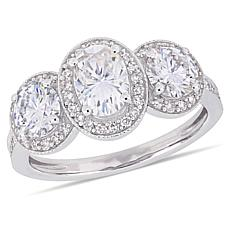 14K White Gold 2.03ctw Moissanite 3-Stone and Diamond Accent Ring