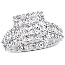 14K White Gold 2ctw Diamond Cluster Engagement Ring