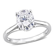 14K White Gold 2ctw Moissanite Oval Solitaire Engagement Ring