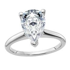 14K White Gold 3.57ct Moissanite Pear-Cut Solitaire Ring