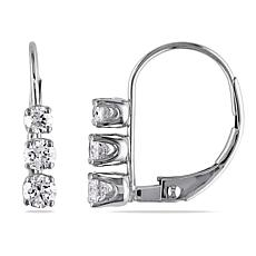 14K White Gold .50ctw Diamond-Accented 3-Stone Earrings