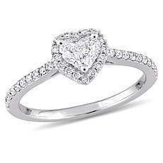 14K White Gold .50ctw Diamond Heart Halo Engagement Ring