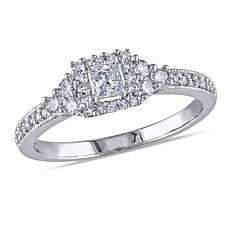 14K White Gold .50ctw Diamond Princess Milgrain Ring