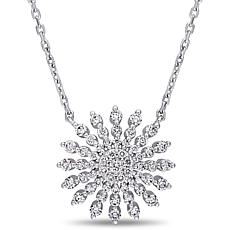 14K White Gold .70ctw Diamond Sunburst Necklace