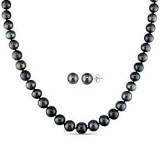 14K White Gold 8-10mm Cultured Tahitian Pearl Necklace and Earrings