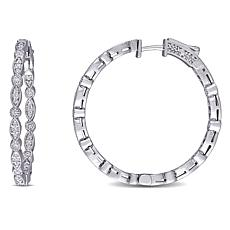 14K White Gold .82ctw Diamond Hoop Earrings