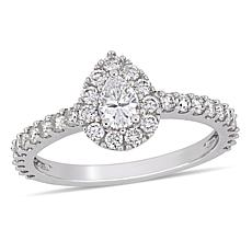 14K White Gold .97ctw Diamond Pear-Shaped Halo Engagement Ring