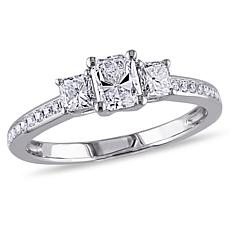 14K White Gold .98ctw Radiant- and Round-Cut Diamond Engagement Ring