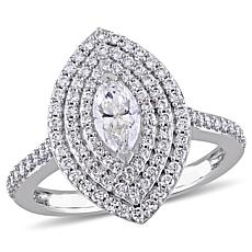 14K White Gold .99ctw Marquise-Cut Diamond Triple Halo Engagement Ring
