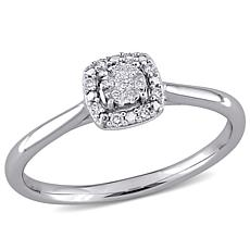 14K White Gold Diamond-Accented Halo Engagement Ring