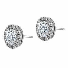 14K White Gold Oval Halo Moissanite Earrings