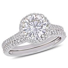 14K White Gold Round Moissanite and Diamond Halo Bridal Ring Set