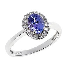 14K White Gold Tanzanite and Diamond Oval Halo Ring