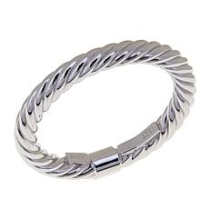 14K White Gold Twisted Tube Ring