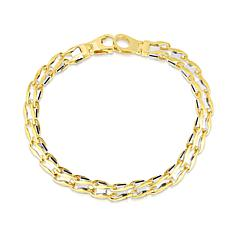 14K Yellow and White Gold  Railroad Bracelet with Lobster  - 8-1/2""