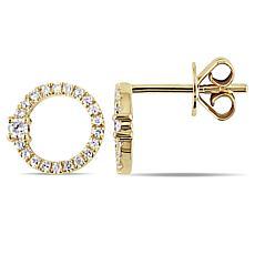 14K Yellow Gold 0.17ctw Diamond Open Circle Stud Earrings