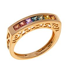 14K Yellow Gold 0.84ctw Multicolor Sapphire Band Ring