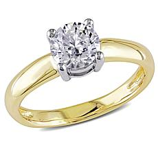14K Yellow Gold 1.25ct Moissanite Round Solitaire Ring