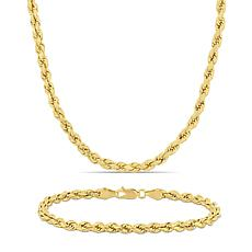 14K Yellow Gold 4mm Rope Chain Necklace and Bracelet Set