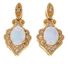 14K Yellow Gold Australian Opal & Diamond Drop Earrings