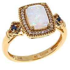 14K Yellow Gold Australian Opal Cushion-Cut Gem Ring