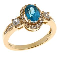 14K Yellow Gold Oval Gemstone and White Zircon Ring