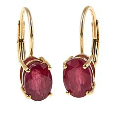 14K Yellow Gold Oval Gemstone Leverback Earrings