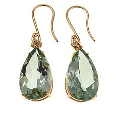 14K Yellow Gold Pear Gemstone and White Zircon Earrings