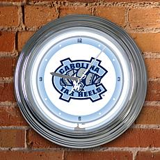 "15"" Neon Team Clock - North Carolina - College"
