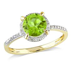 1.56ctw Peridot and Diamond 10K Round Halo Ring