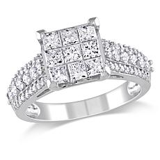 1.5ctw Princess and Round White Diamond Cocktail Ring