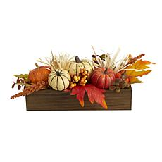 16 in. Harvest Pumpkin and Berries Artificial Arrangement in Wood Vase
