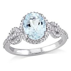 1.64ctw Aquamarine and White Diamond 10K White Gold Ring