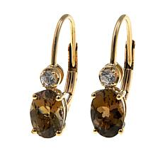 1.64ctw Golden Zoisite and White Zircon 14K Earrings