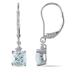 1.72ctw Cushion-Cut Aquamarine and Diamond 10K Earrings