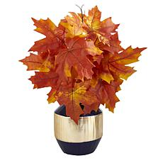 18 in. Autumn Maple Leaf Artificial Plant in Blue and Gold Planter
