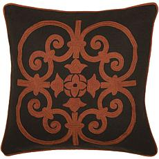 "18"" x 18"" Square Scroll Pillow - Rust/Brown"