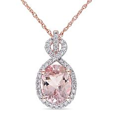 1.83ctw Morganite and Diamond 10K Infinity Pendant