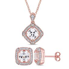 18K Rose Gold-Tone Cushion-Cut Created White Sapphire & Diamond Set