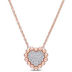 18K Two-Tone Gold .14ctw Diamond Beaded Heart Necklace