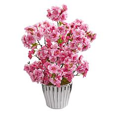 19 in. Cherry Blossom Artificial Arrangement in White Vase with Sil...