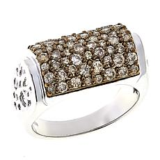 1ctw Colored Diamond Multi-Row Sterling Silver Band Ring