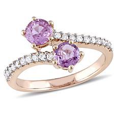 1ctw Pink Sapphire and Diamond 10K  Pavé Bypass Ring