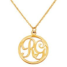 """2-Initial Circle Pendant with 20"""" Rope Chain"""