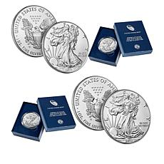 "2017-W & 2018-W ""The Two Rarest"" Satin-Finish Silver Eagle Dollars"