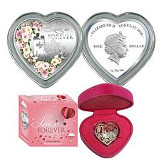 2018 Colorized Roses for Love Heart-Shaped Silver Coin
