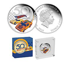 2018 Hot Wheels 50th Anniversary Colorized Tuvalu $1 Silver Coin