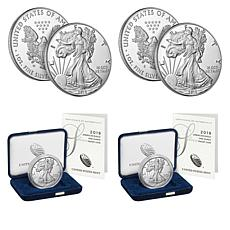 2019 Proof S- and W-Mint Silver Eagle 2-Coin Set