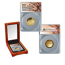 2020 PR70 DCAM ANACS FDOI LE 26 Basketball Hall of Fame $5 Gold Coin